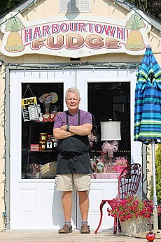 Jon Coughlin in front of Harbourtown Fudge, Port Stanley (London Free Press)